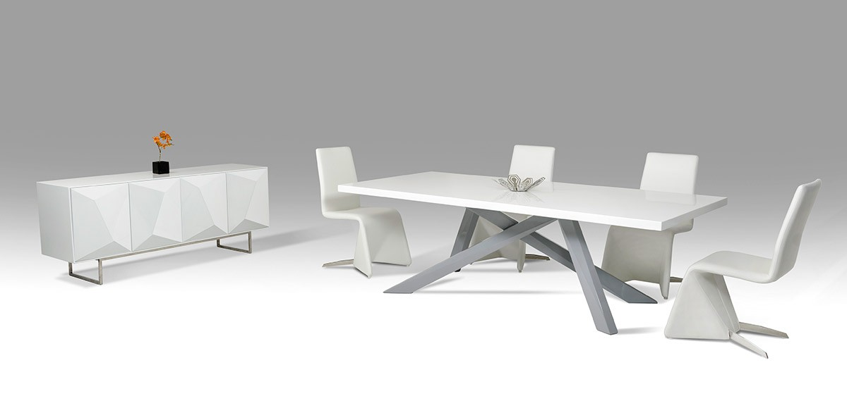 D313 Modern Dining Room Set In White Lacquer Finish: Modern Small White And Grey Dining