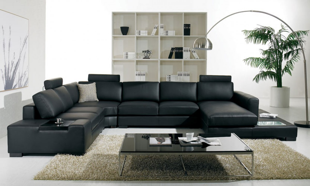- T35 Modern Black Leather Sectional Living Room Furniture