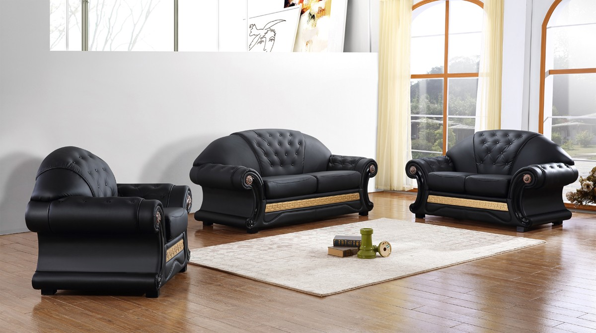 Divani Casa Cleopatra Traditional Black Leather Sofa Set   Ital. Classic  Sofas   Living Room