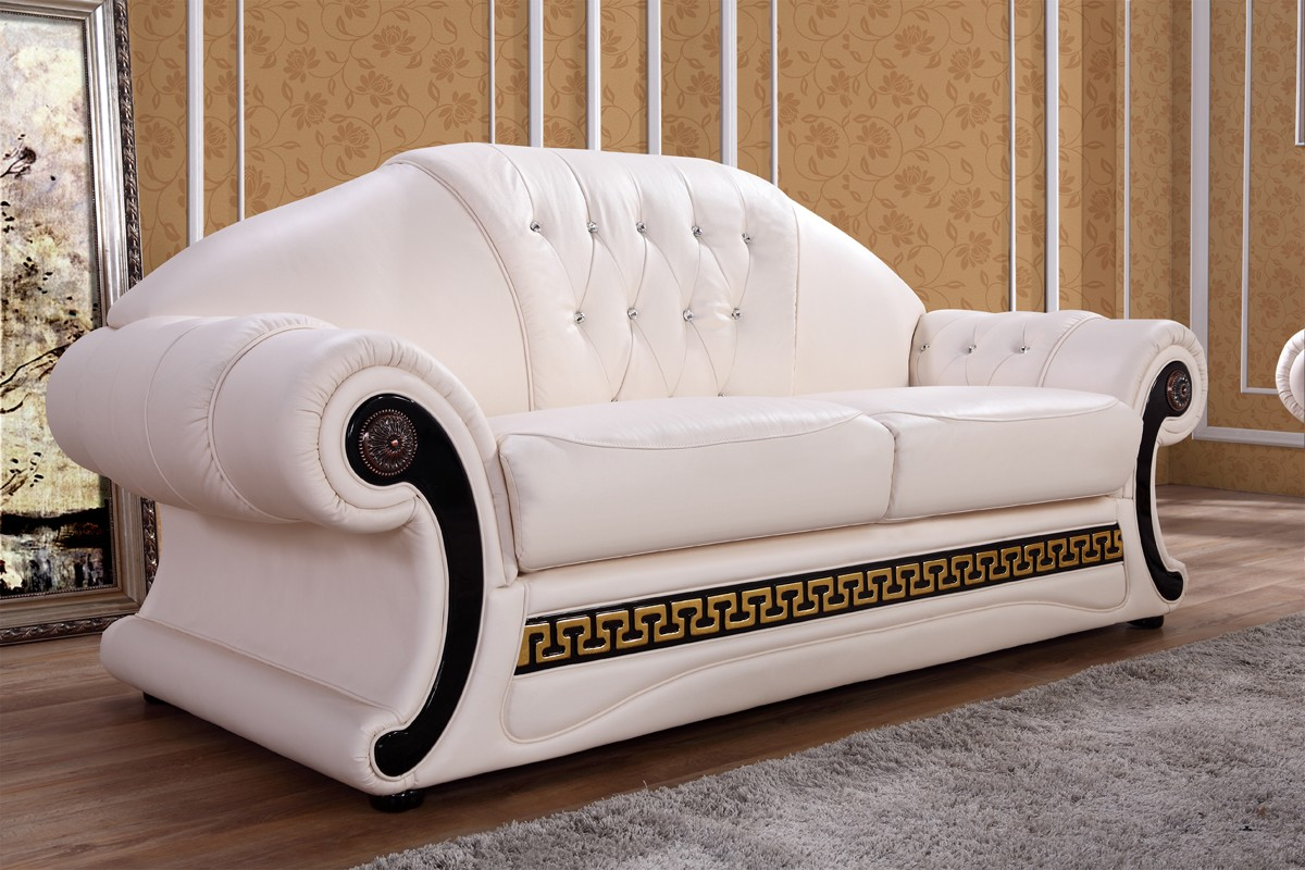 Divani Casa Suzanne Classic Cream Leather Sofa Set