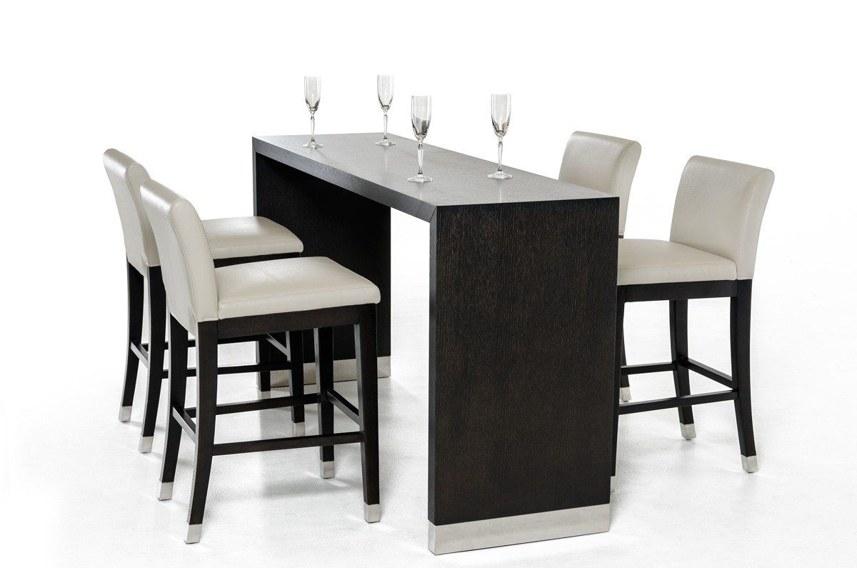 Modrest silas modern wenge wood bar table for Table basse bar wenge