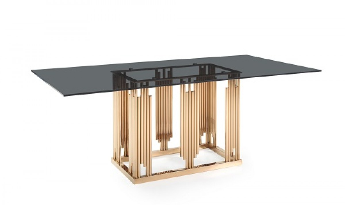 Modrest Token Modern Smoked Grey Glass Amp Rosegold Dining Table