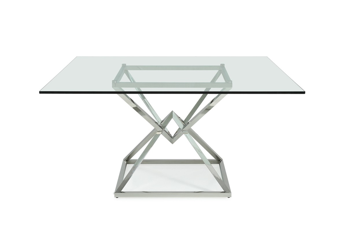 modrest xander modern square glass dining table