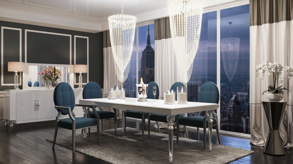 A Amp X Baccarat Transitional White Crocodile Dining Table