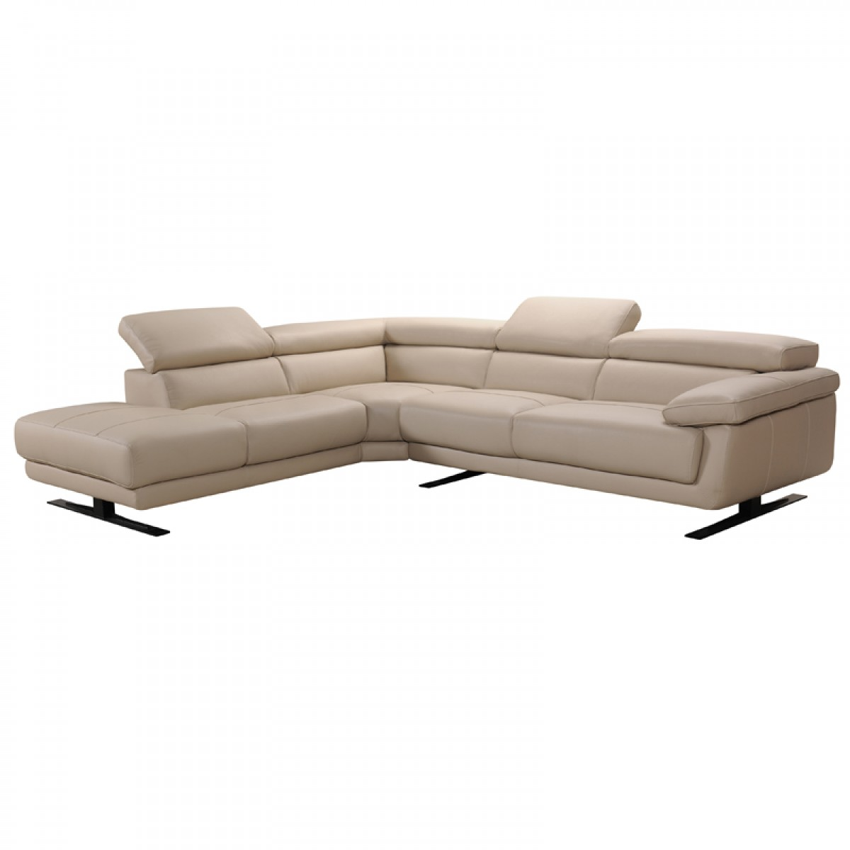 Divani casa gypsum modern taupe leather sectional sofa for Brighton taupe 3 piece chaise and sofa set