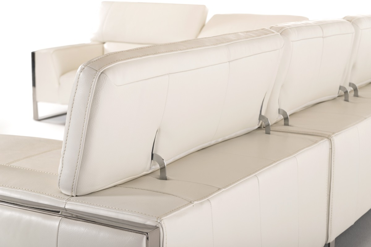 Divani casa tupelo modern white leather sectional sofa for Sectional sofa with table attached