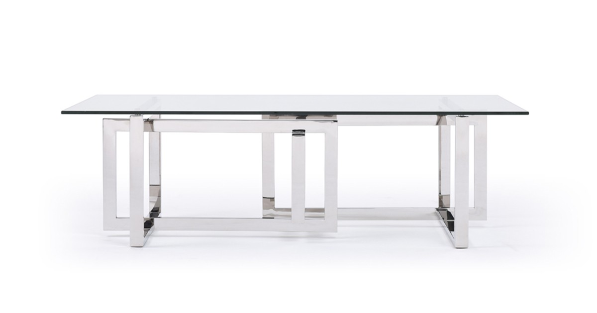 Modrest Valiant Modern Glass Stainless Steel Coffee Table Coffee Tables Living Room