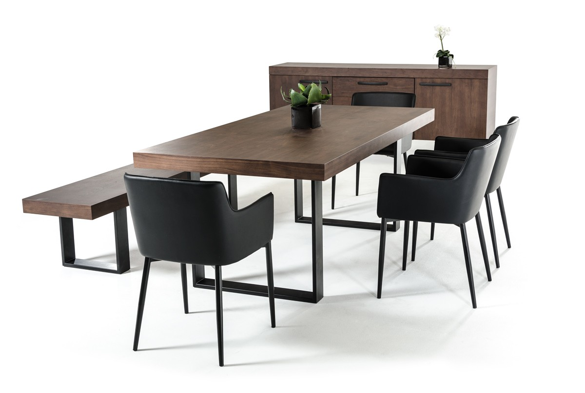 modrest lola modern walnut dining table. Black Bedroom Furniture Sets. Home Design Ideas