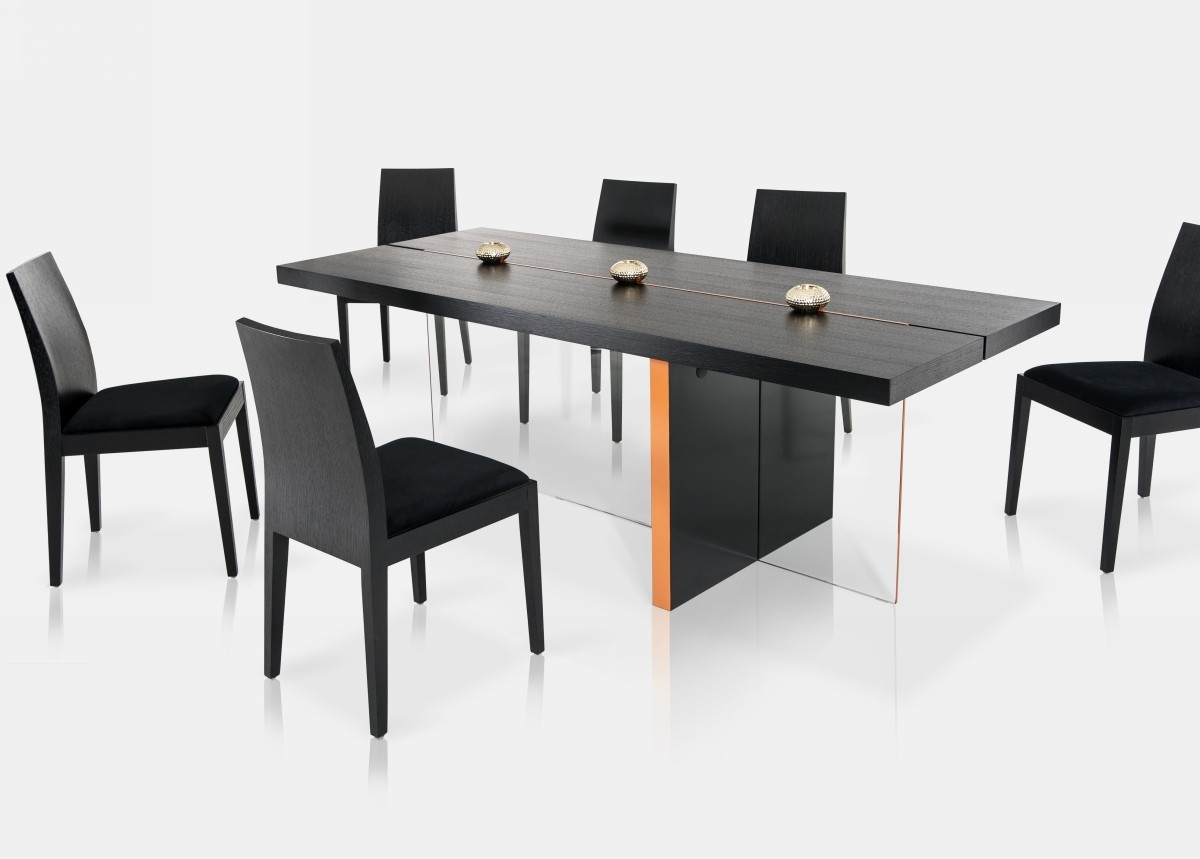 Modrest vision modern black oak floating dining table for Modern oak dining table