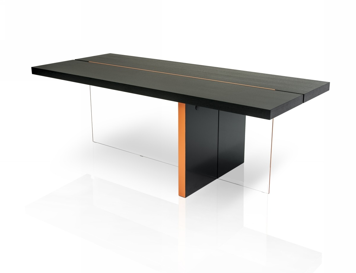 Modrest vision modern black oak floating dining table for Modern black dining table