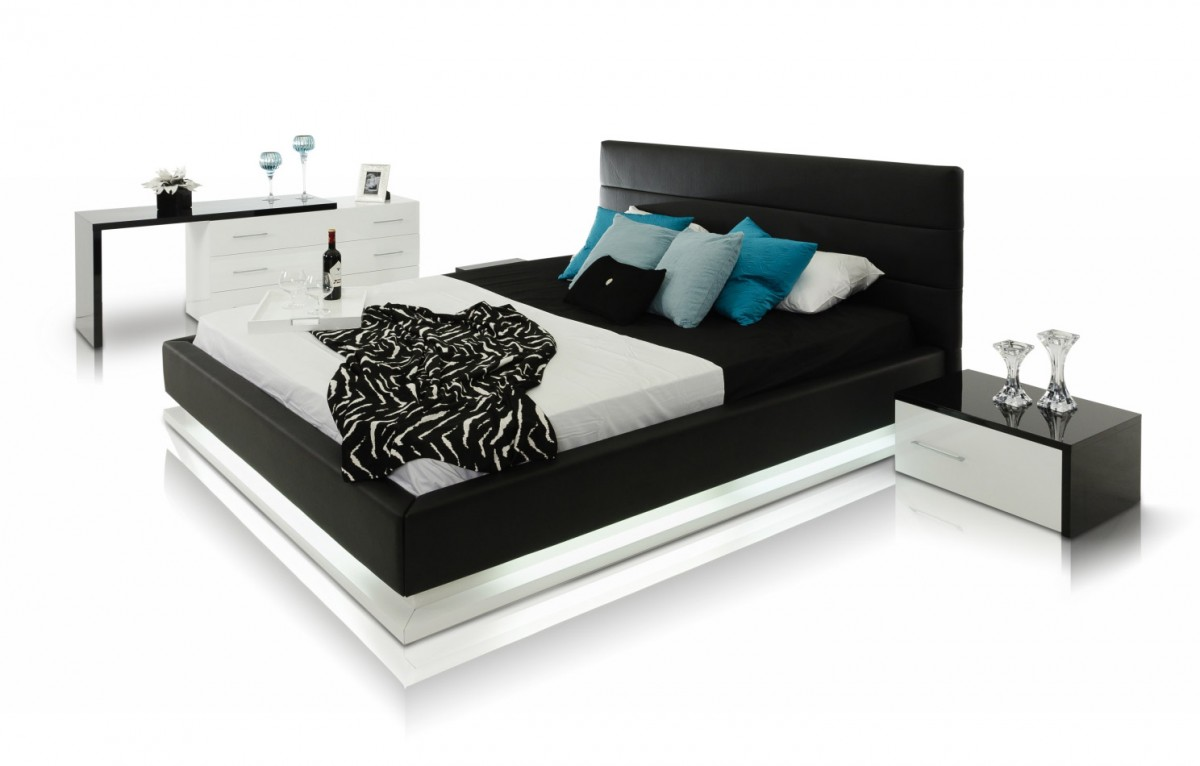Modrest Infinity Contemporary Platform Bed With Lights Modern