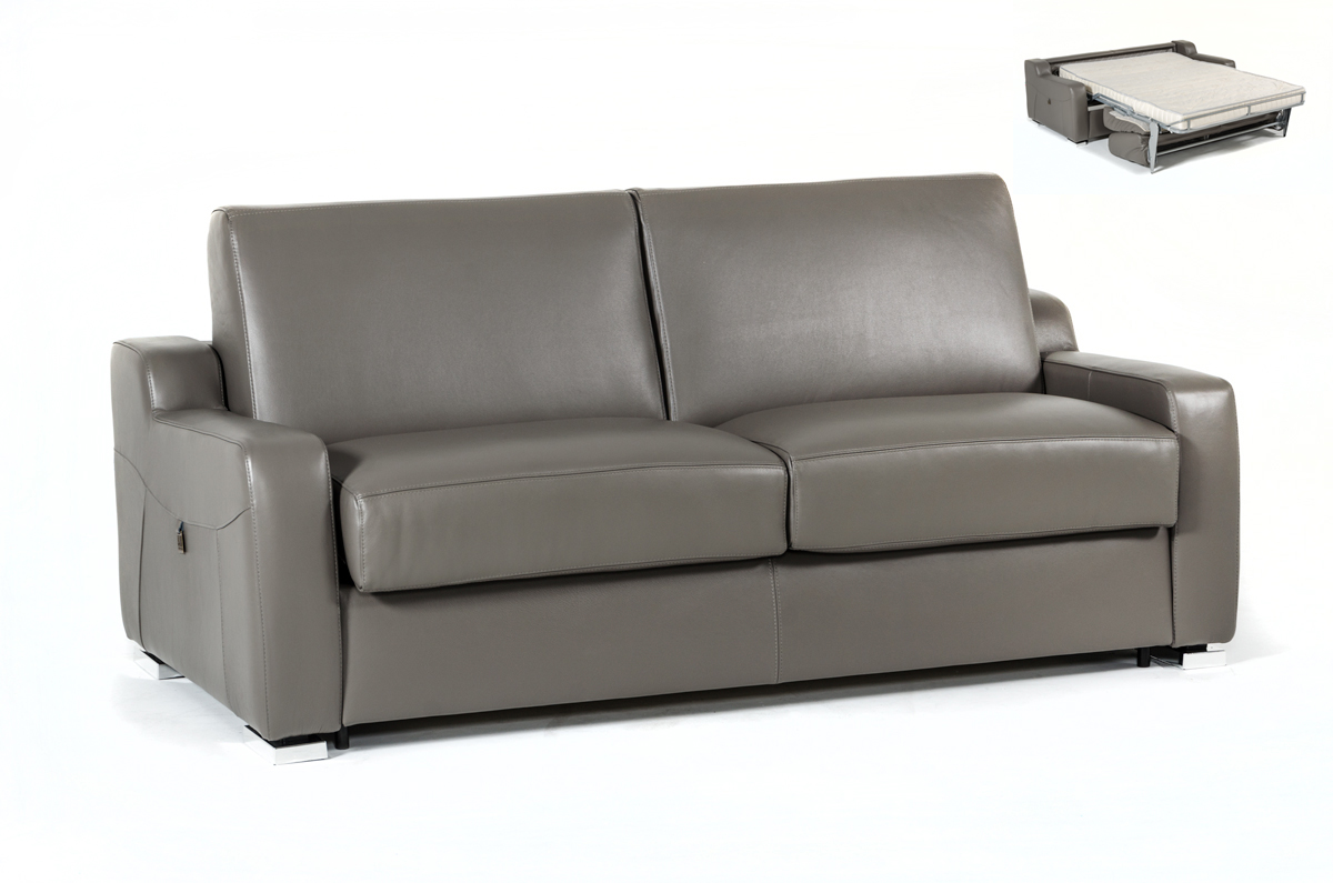 VIG Furniture Estro Salotti Dalia Modern Grey Leather Sofa Bed