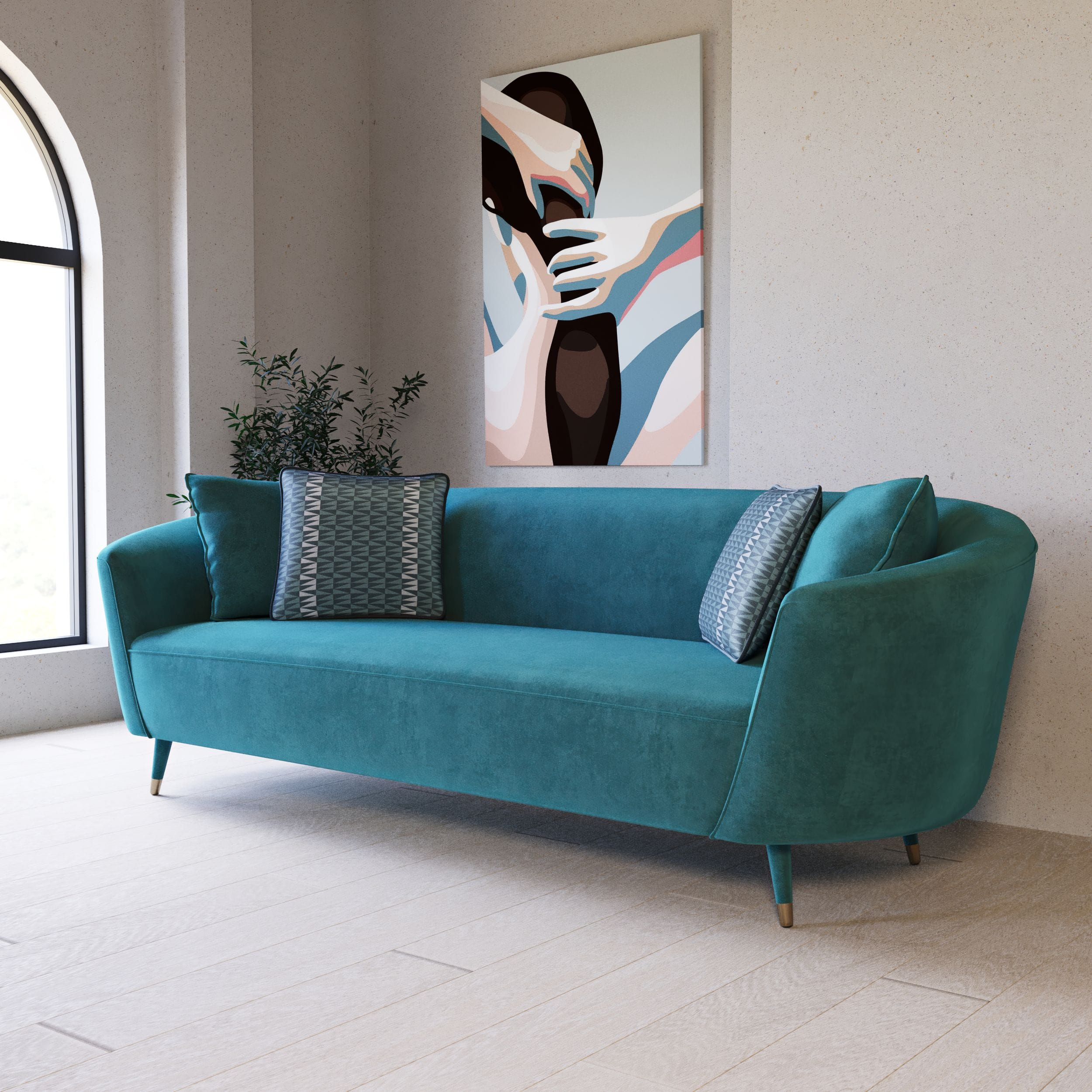 VIG Furniture Divani Casa Jenner Modern Aqua Velvet Sofa