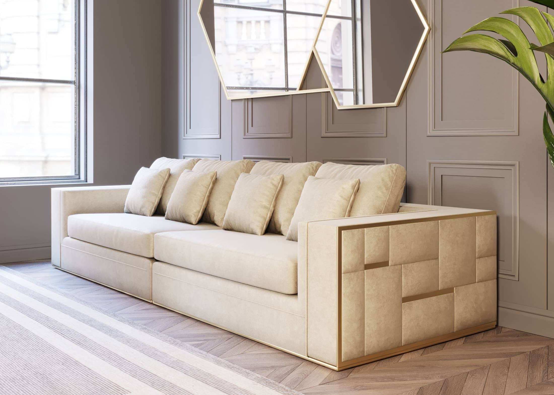 VIG Furniture Divani Casa Mobray Glam Beige and Gold Fabric Sofa
