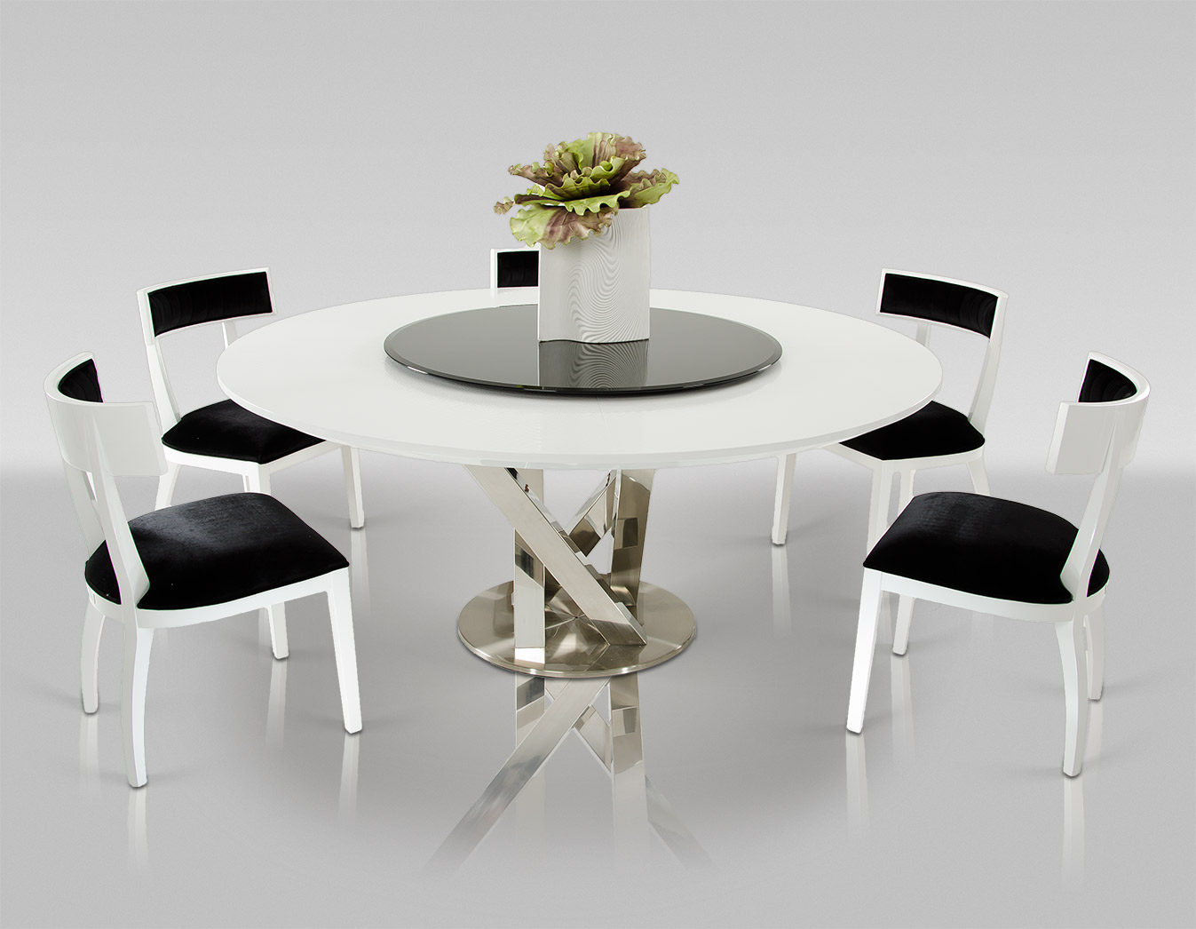 VIG Furniture A&X Spiral Modern Round White Dining Table with Lazy Susan
