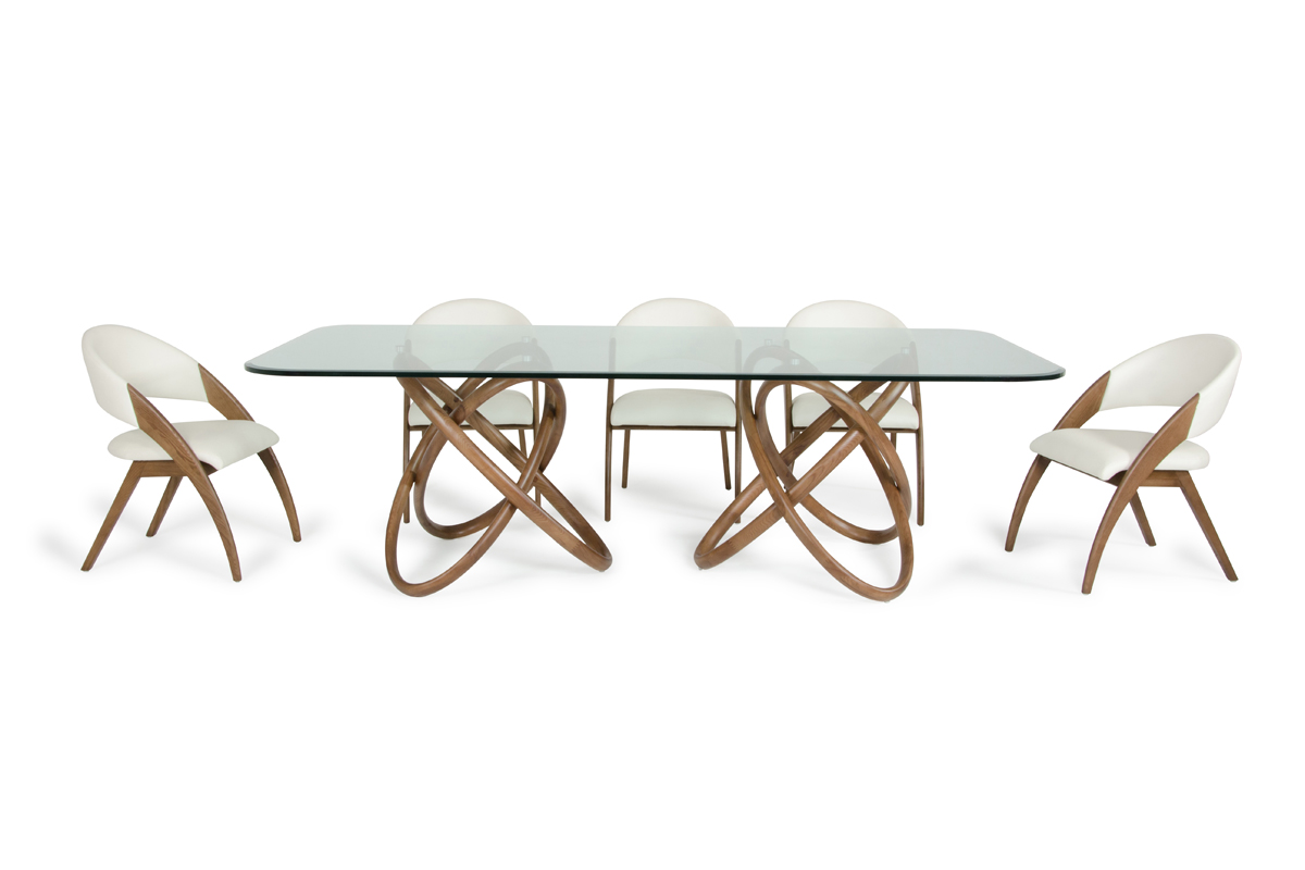 VIG Furniture Modrest Mason Modern Glass and Walnut Dining Table