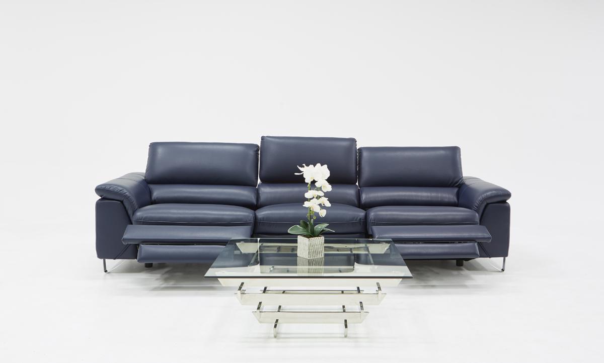 VIG Furniture Divani Casa Maine Modern Blue Eco-Leather Sofa with Electric Recliners