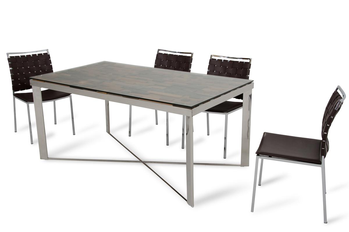 VIG Furniture Modrest Santiago Modern Rectangular Wood Mosaic Dining Table