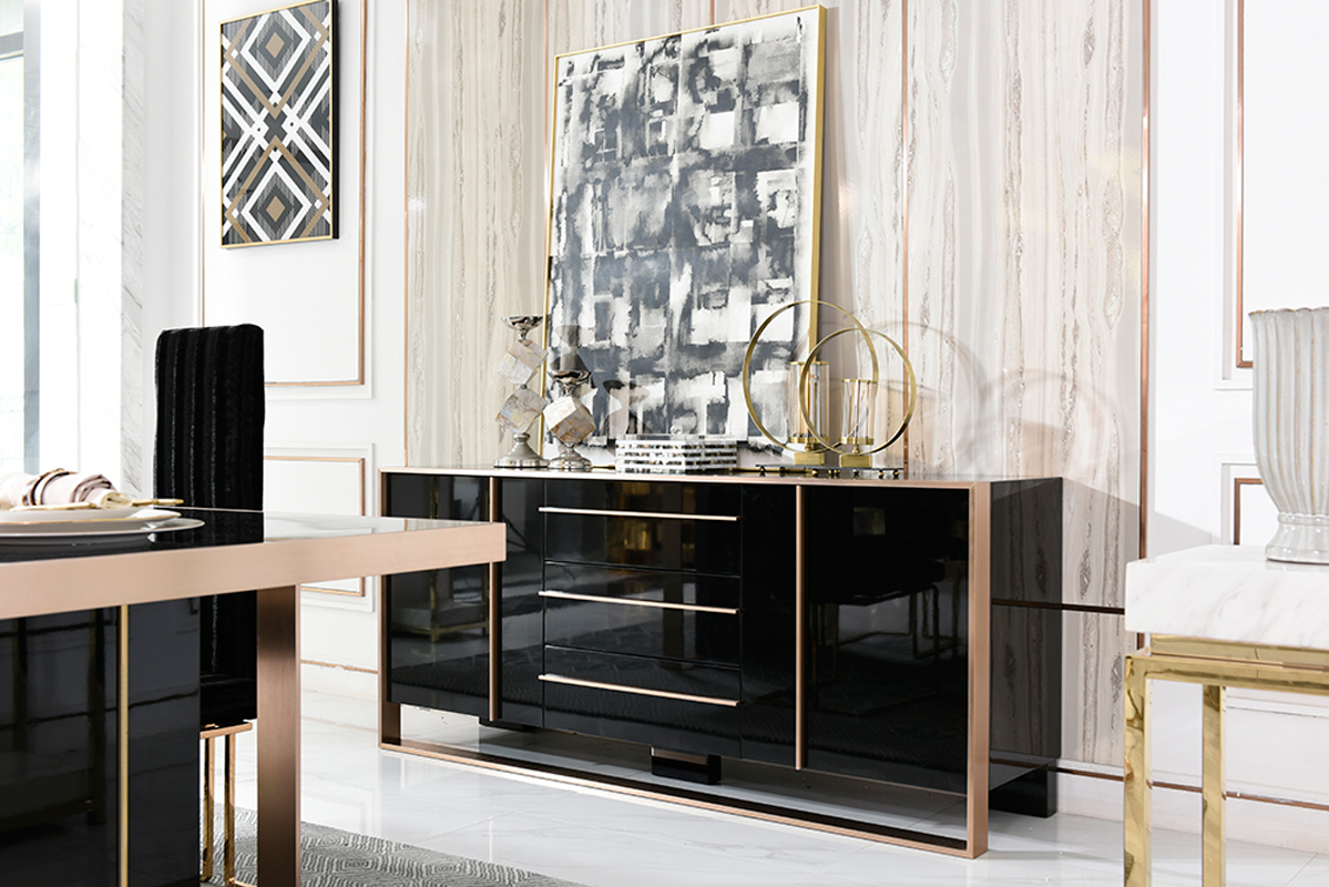 VIG Furniture Nova Domus Cartier Modern Black and Rosegold Buffet