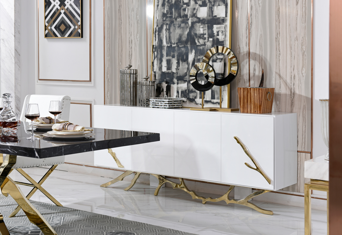 VIG Furniture Modrest Legend Modern White and Gold Buffet