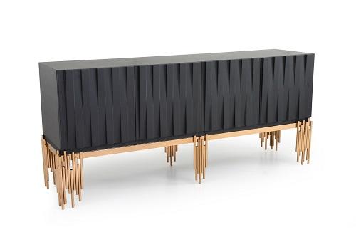 VIG Furniture Modrest Token Modern Black and Rosegold Buffet