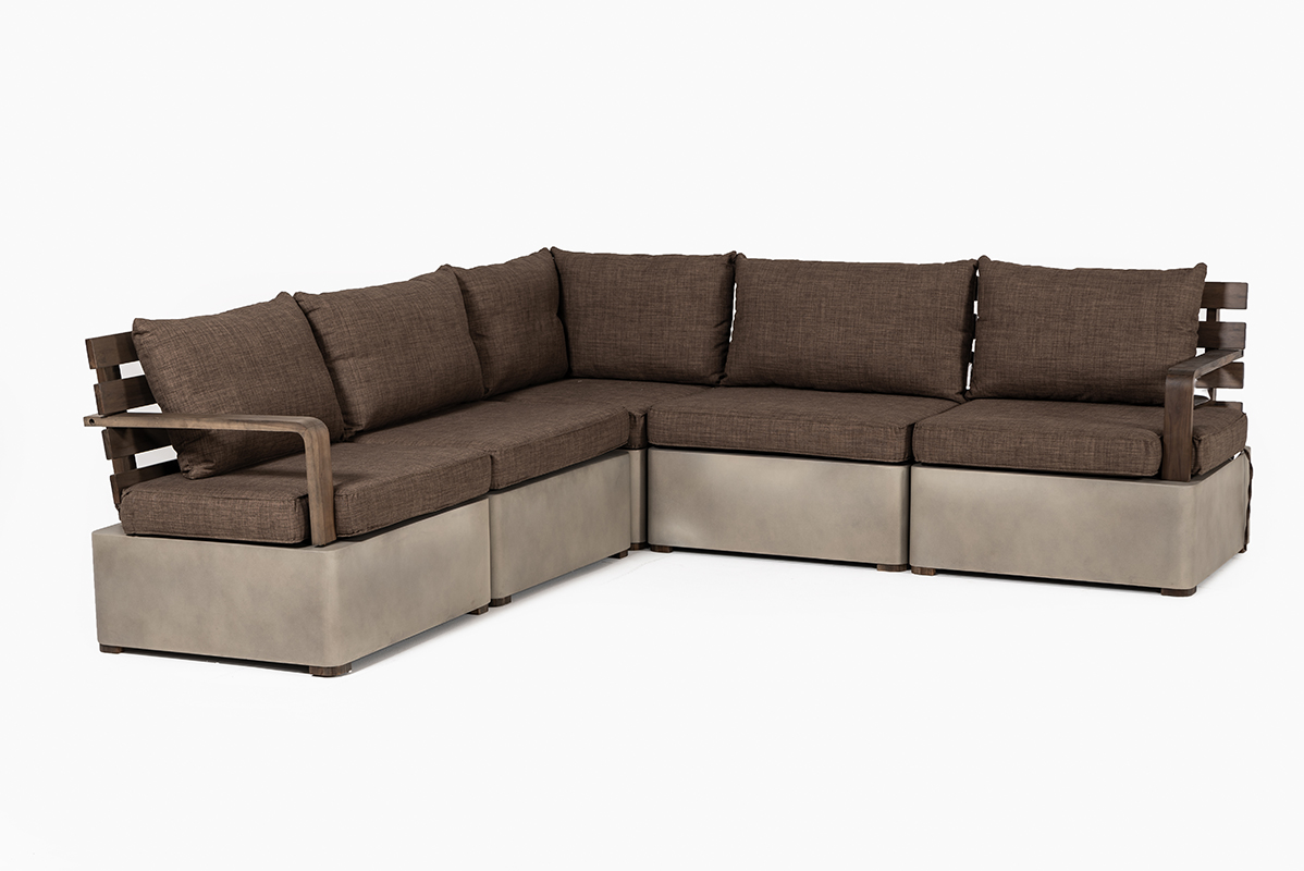 VIG Furniture Renava Garza Outdoor Concrete and Teak Modular Sectional