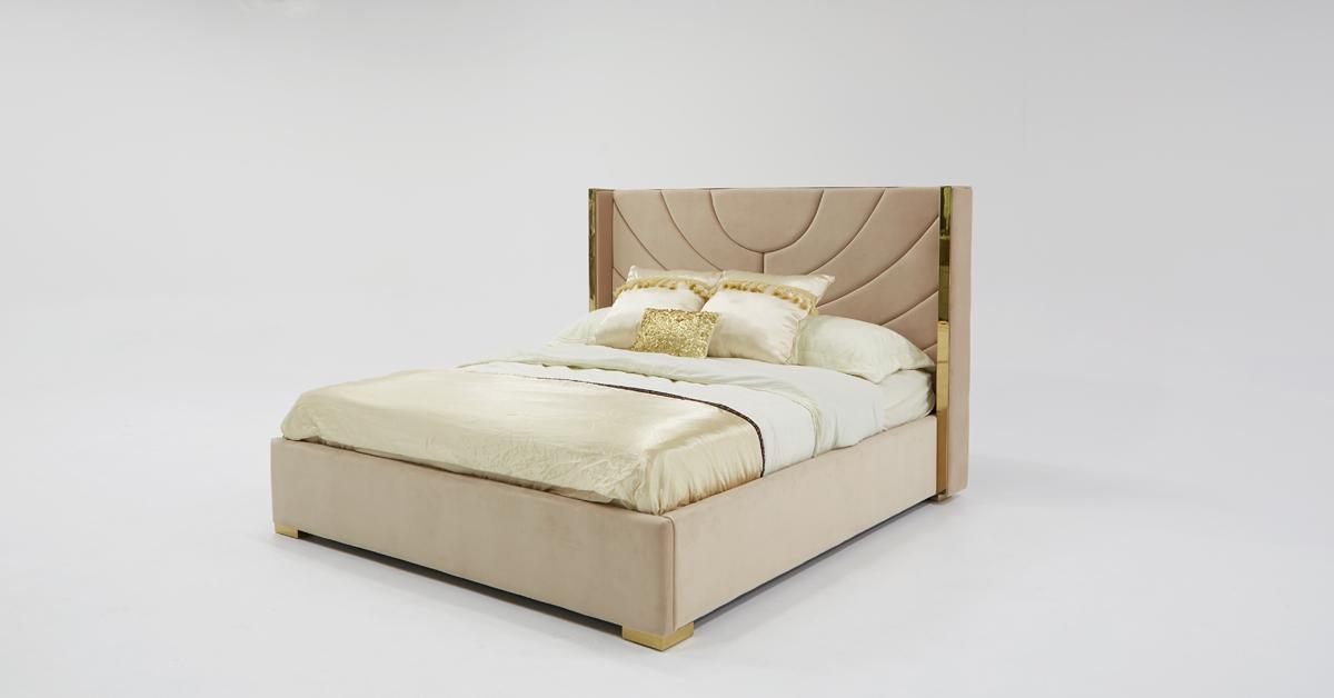 VIG Furniture Divani Casa Visalia Modern Beige Velvet and Gold Eastern King Bed