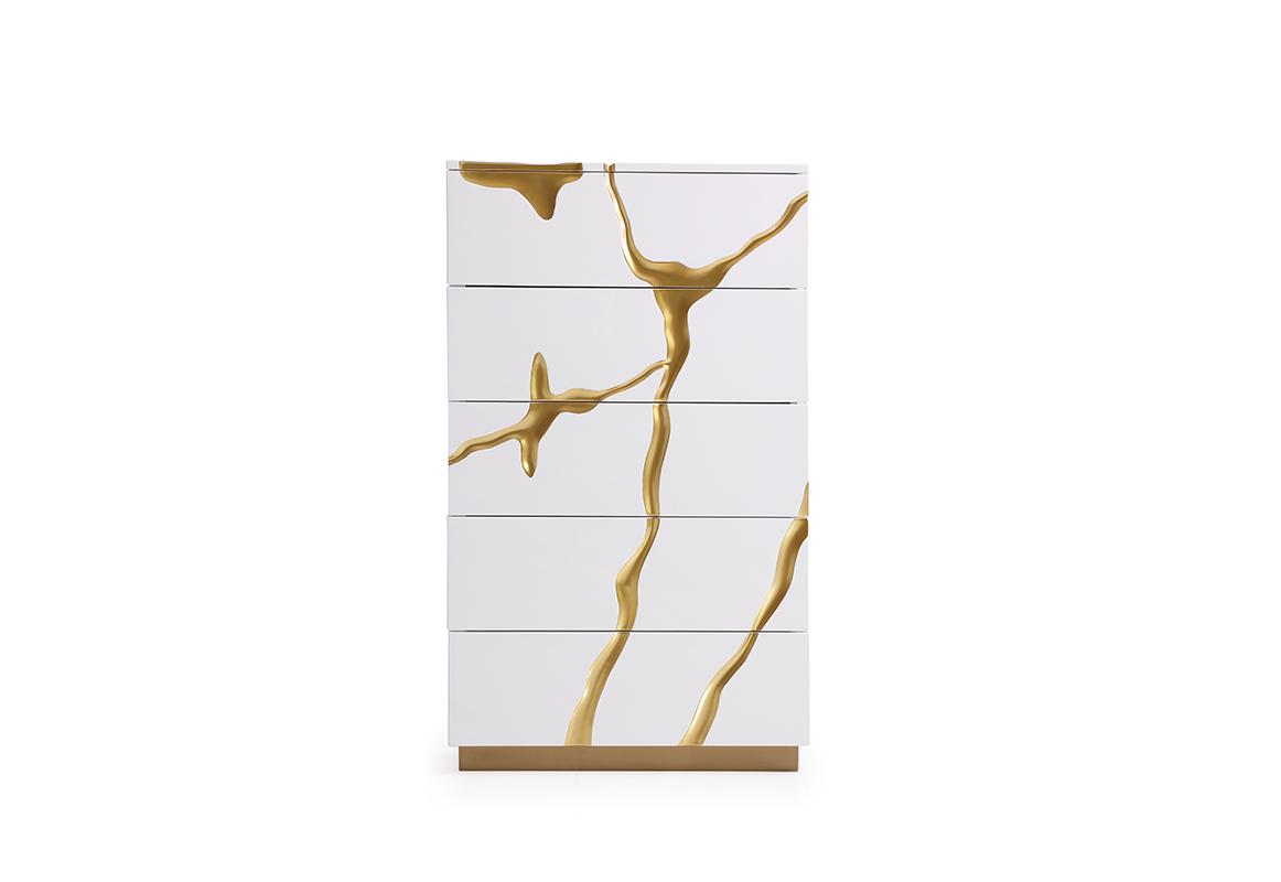 VIG Furniture Modrest Aspen Modern White and Gold Chest