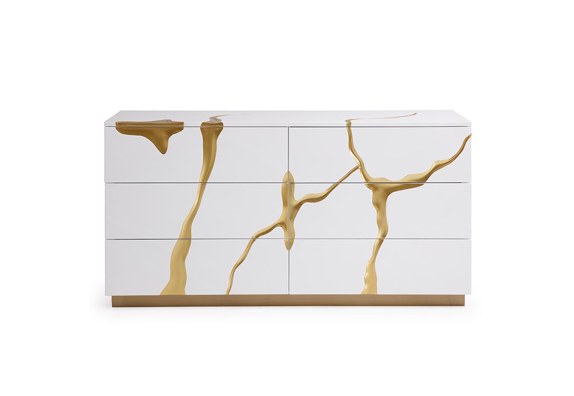 VIG Furniture Modrest Aspen Modern White and Gold Dresser
