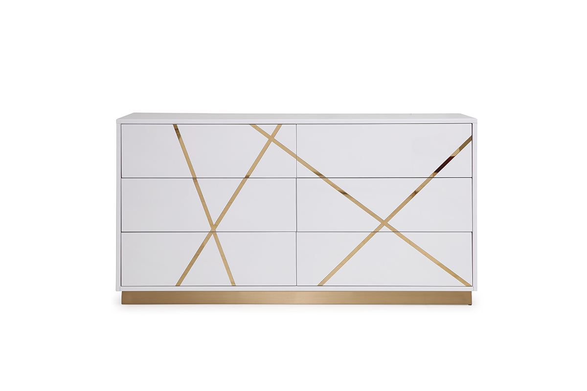 VIG Furniture Modrest Nixa Modern White and Gold Dresser