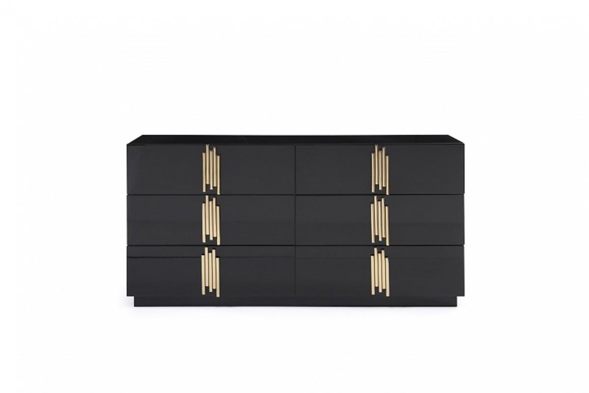 VIG Furniture Modrest Token Modern Black and Gold Dresser