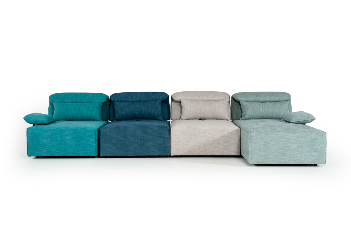 VIG Furniture Divani Casa Jamie Modern Multi-Colored Blue Fabric Sectional