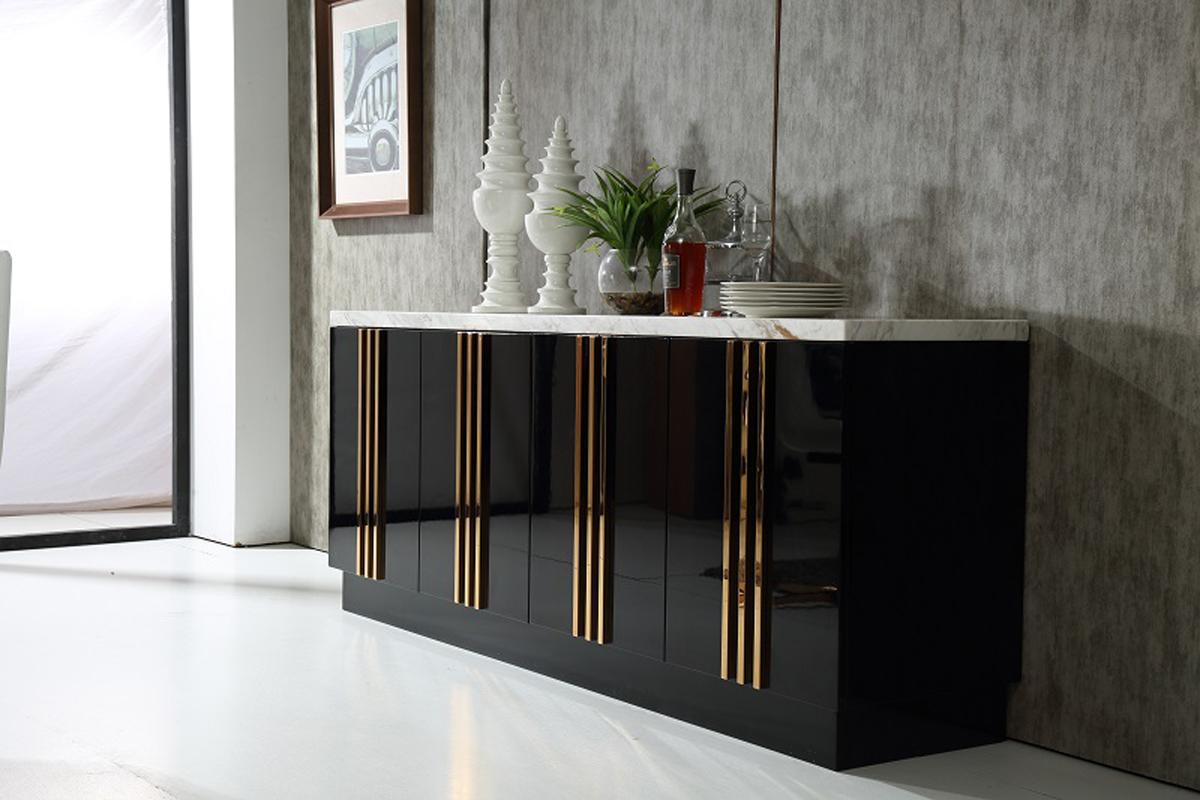 VIG Furniture Modrest Kingsley Modern Marble and Rosegold Buffet
