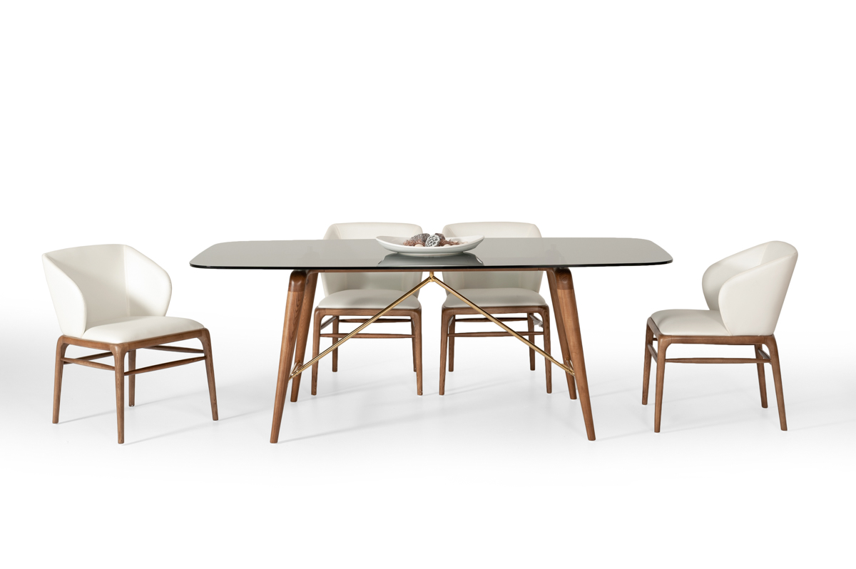 VIG Furniture Modrest Kipling Modern Walnut Dining Set