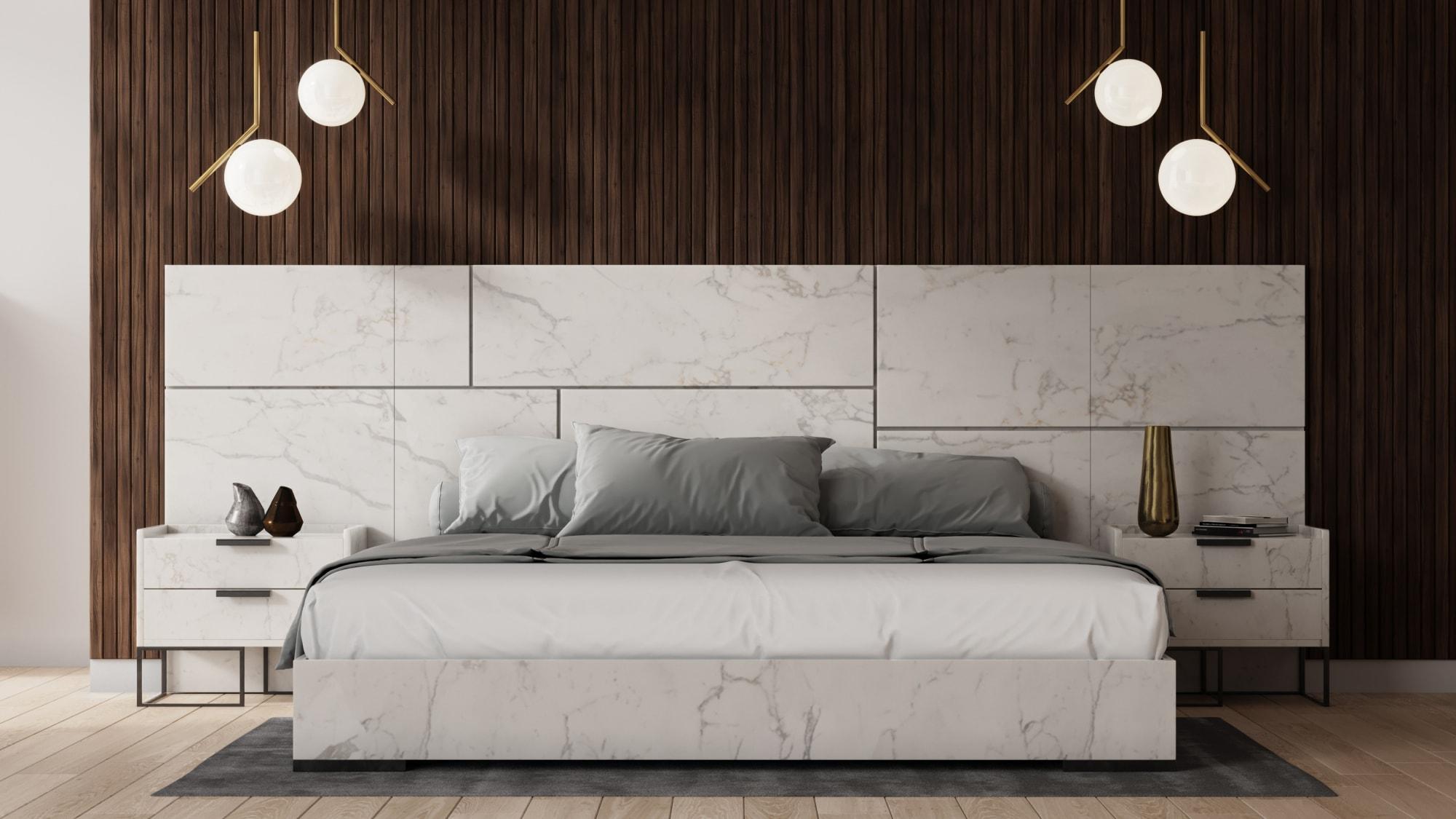 VIG Furniture Nova Domus Marbella Italian Modern White Marble Bed
