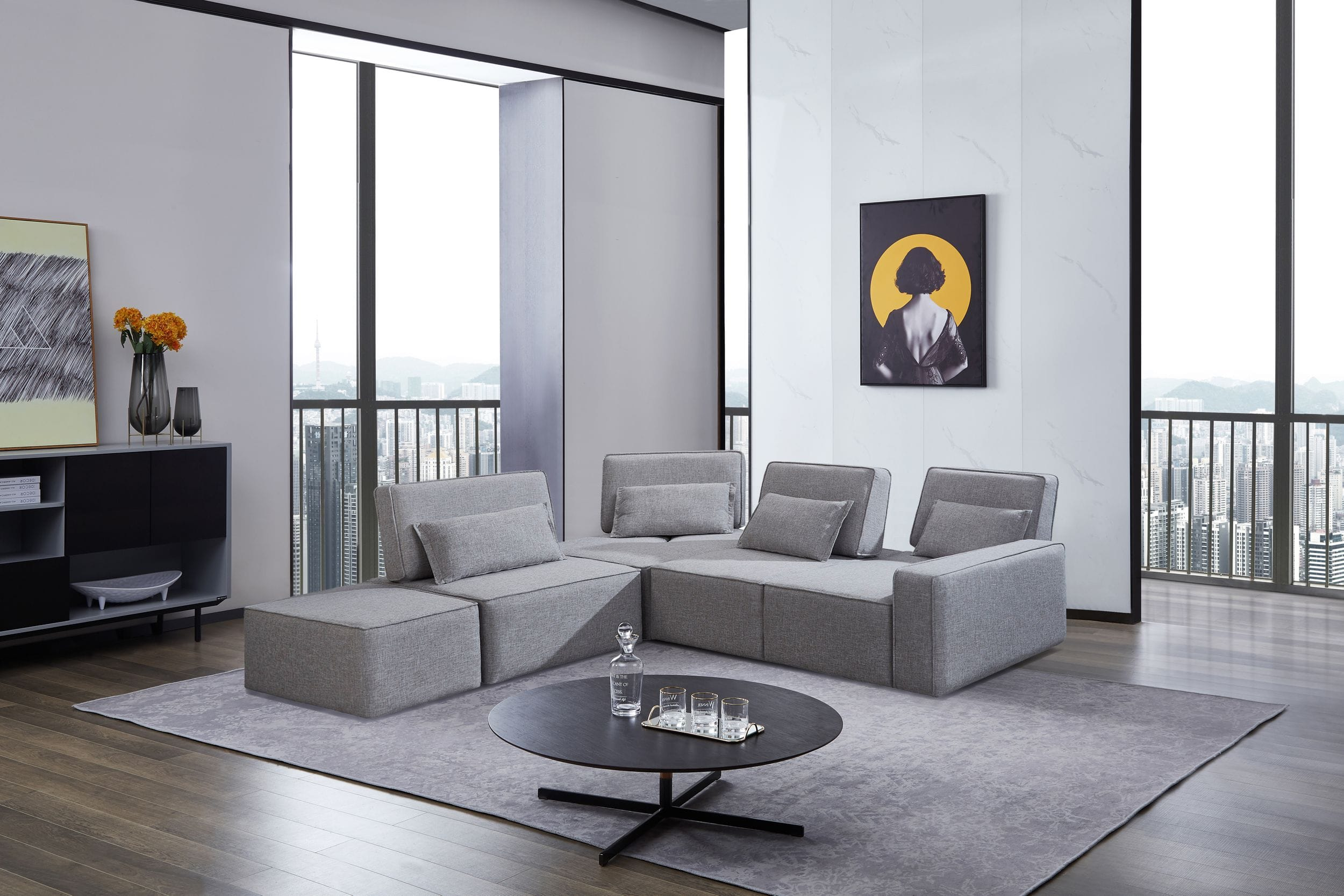 VIG Furniture Divani Casa Chapel Modern Light Grey Fabric Sectional Sofa with Ottoman