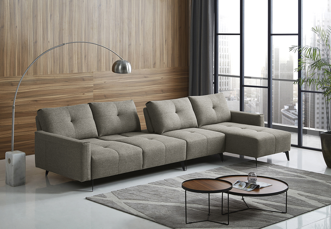 VIG Furniture Divani Casa Kenton Modern Grey Fabric Sectional Sofa