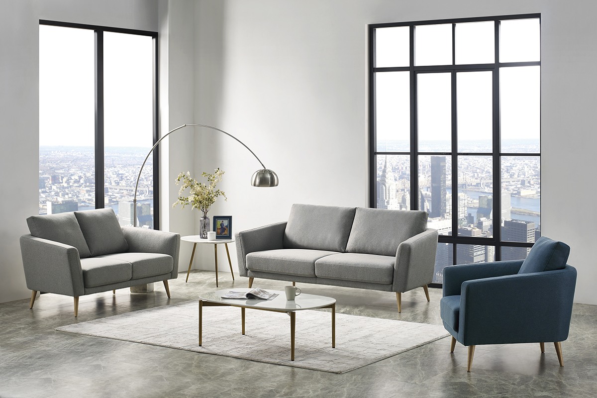 VIG Furniture Divani Casa Benham Modern Grey and Blue Fabric Sofa Set
