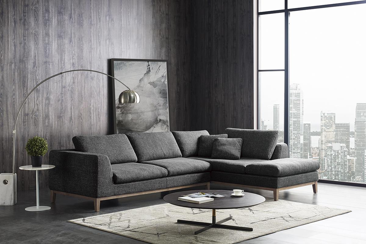 VIG Furniture Divani Casa Hickman Modern Dark Grey Fabric Sectional Sofa