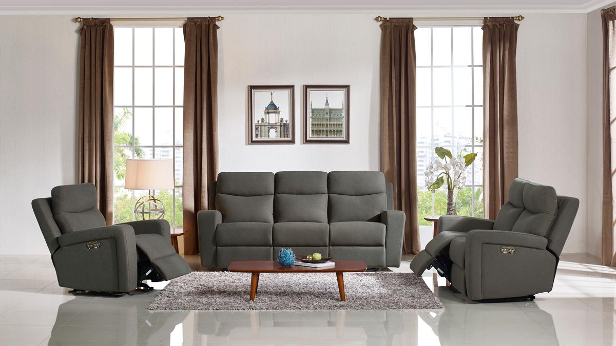 VIG Furniture Divani Casa Shaw Modern Grey Fabric Sofa Set with Recliners
