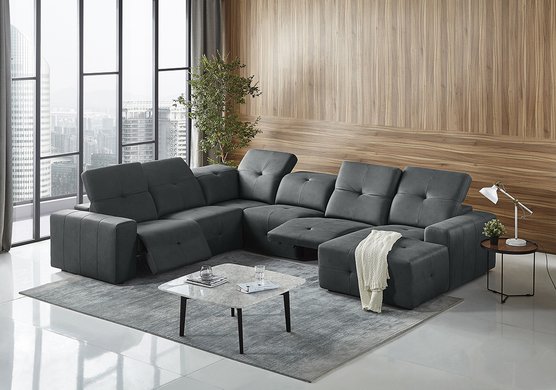 VIG Furniture Divani Casa Mentor Modern Dark Grey Leatherette Sectional with 2 Recliners