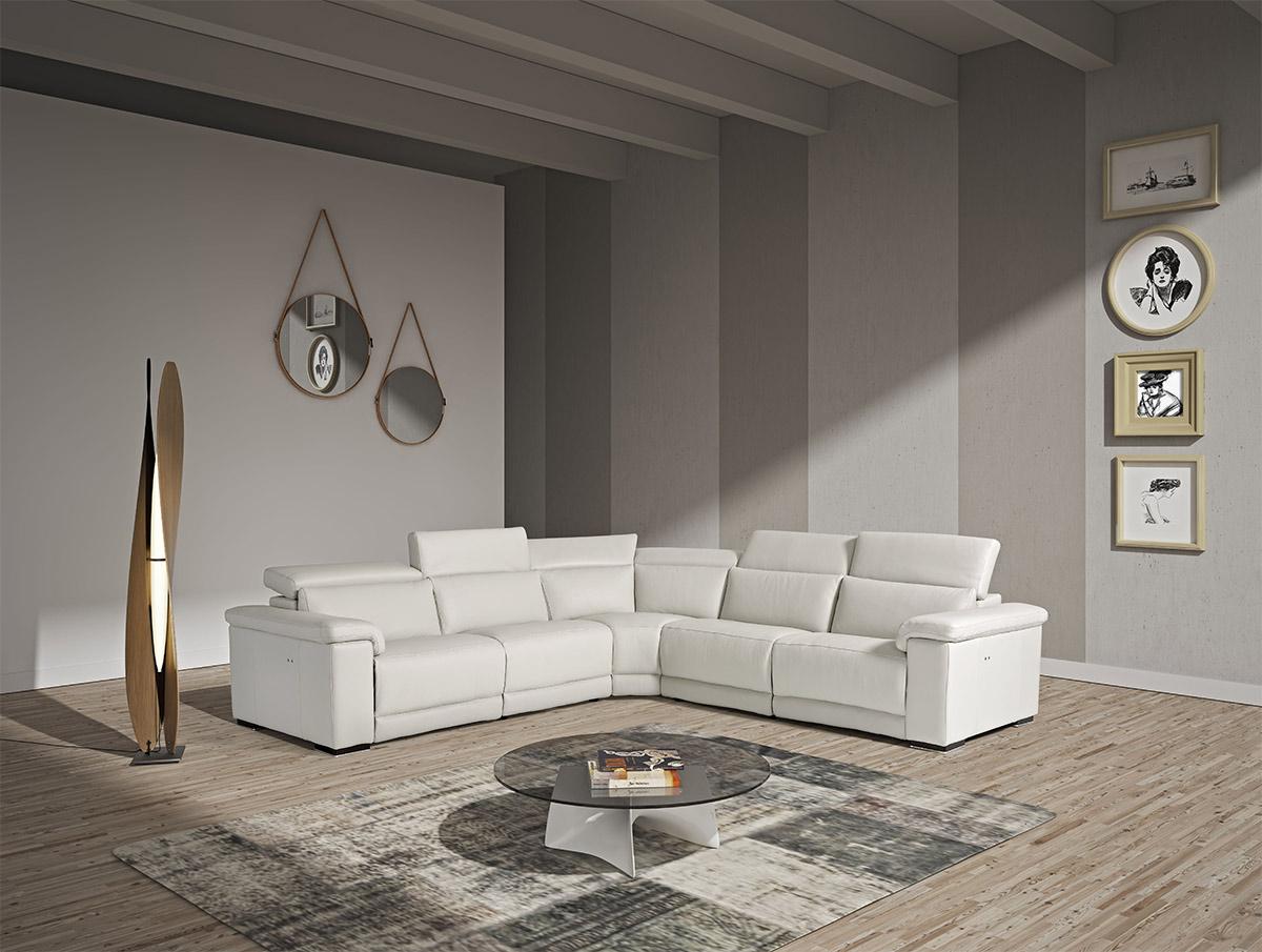 VIG Furniture Estro Salotti Palinuro White Leather Sectional Sofa w/Recliners