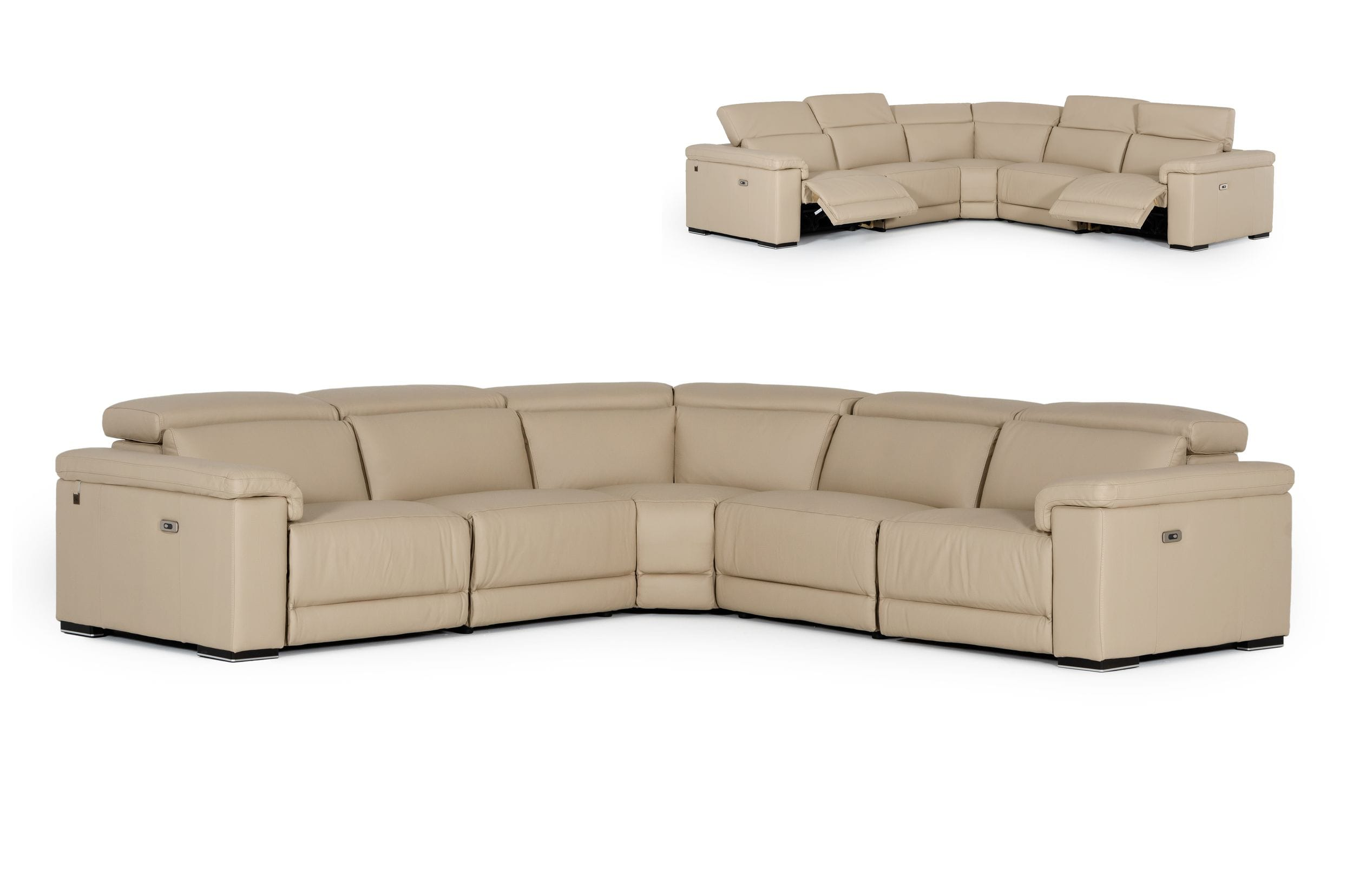 VIG Furniture Estro Salotti Palinuro Taupe Italian Leather Sectional Sofa with Recliners
