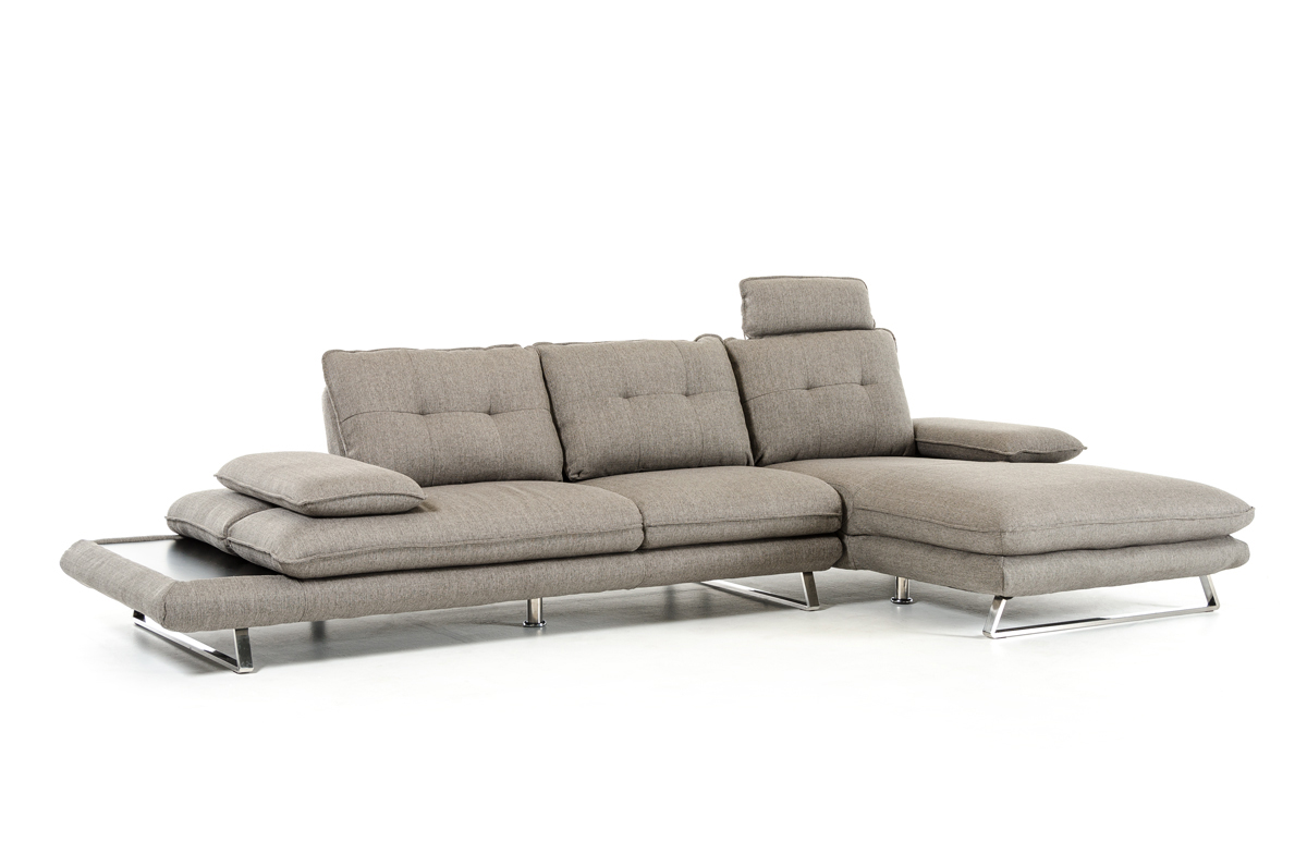 VIG Furniture Divani Casa Porter Modern Grey Fabric Sectional Sofa
