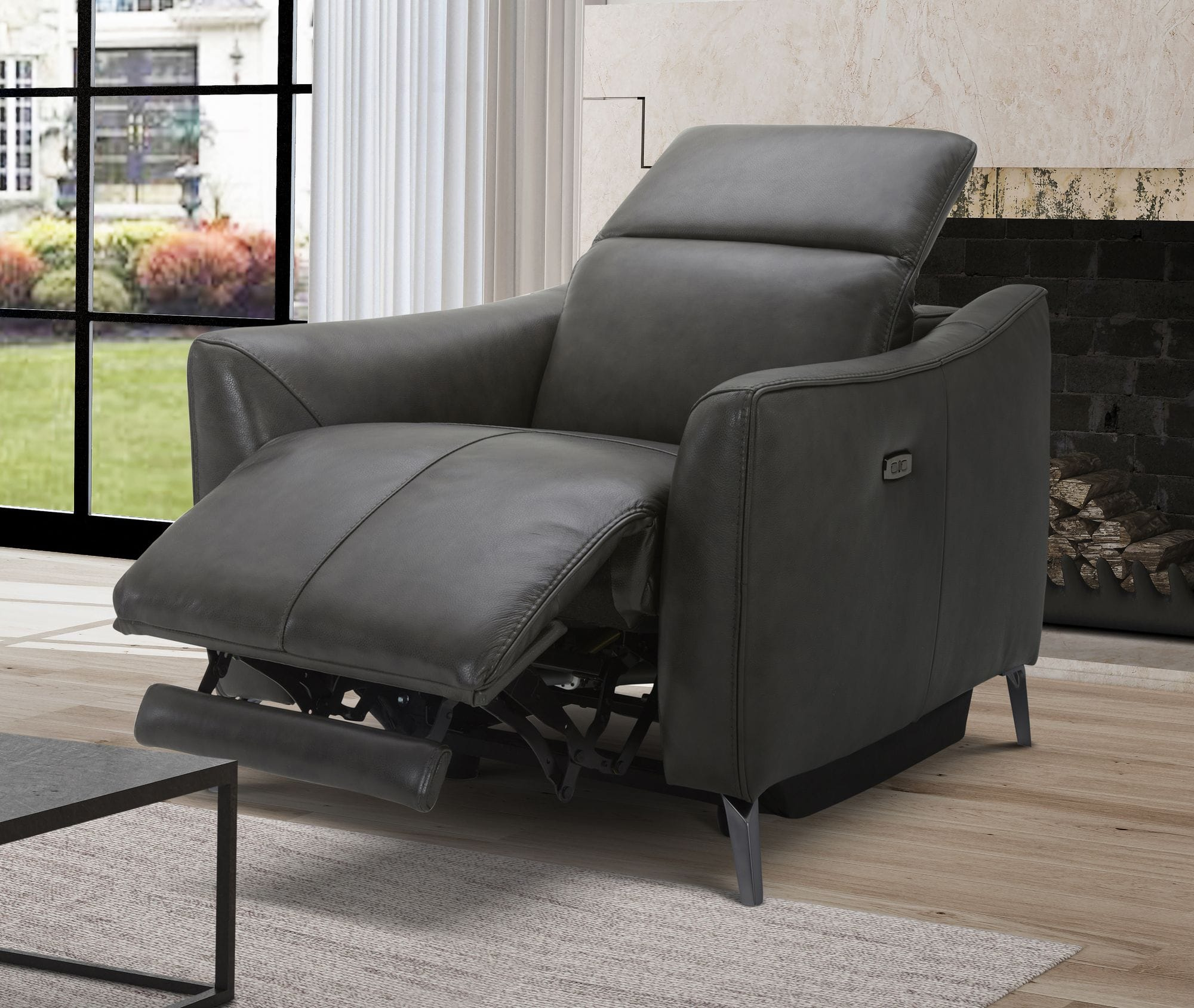 VIG Furniture Divani Casa Prairie Dark Grey Leather Electric Recliner Chair with Electric Headrest