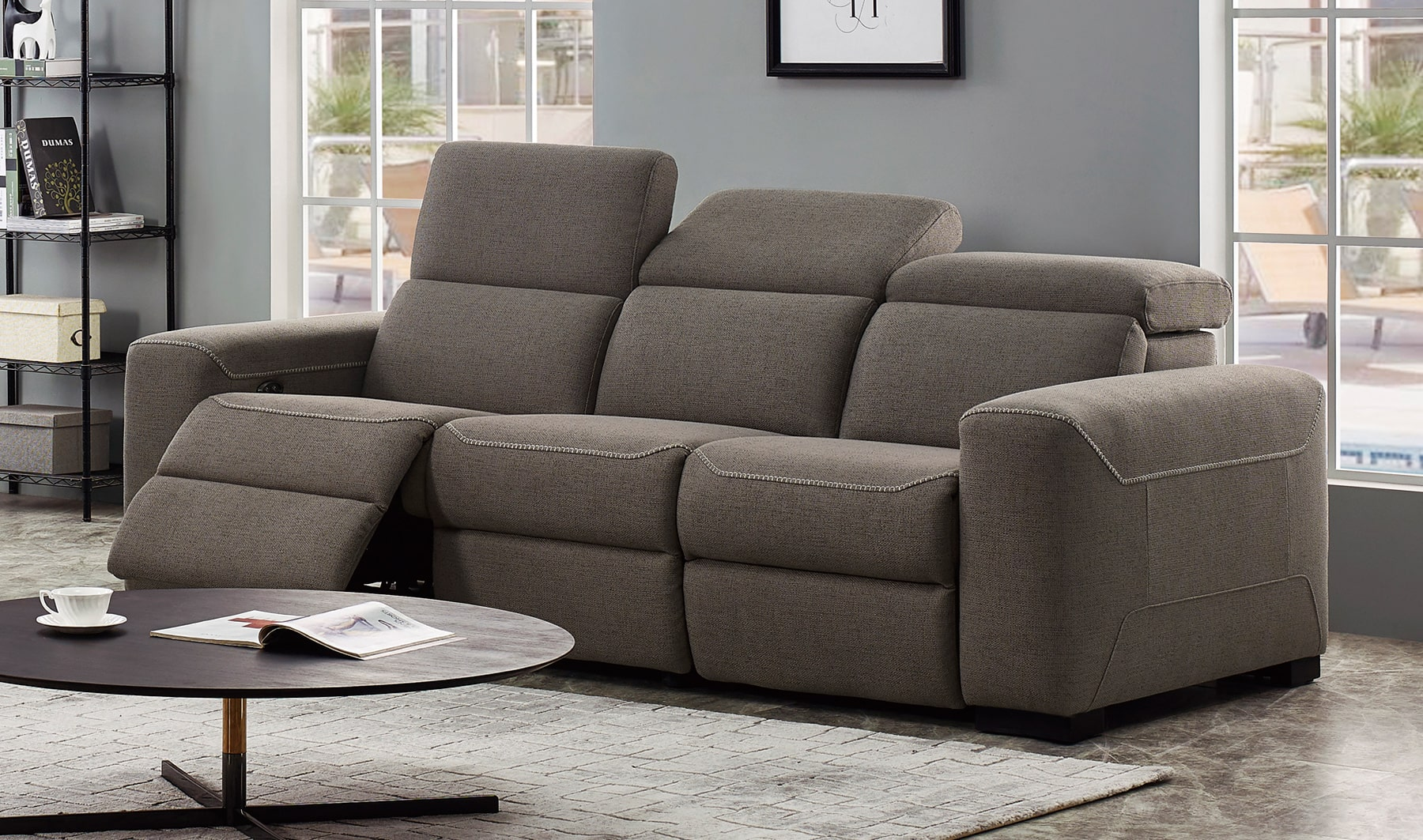 VIG Furniture Divani Casa Raywick Modern Brown Fabric Sofa with 2 Recliners