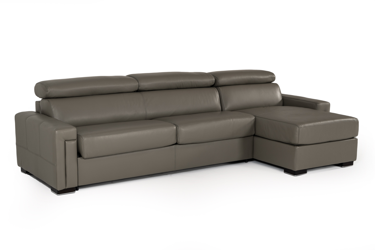 VIG Furniture Estro Salotti Sacha Modern Dark Grey Leather Reversible Sofa Bed Sectional with Storage