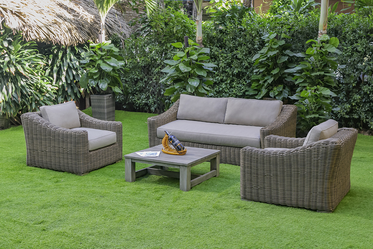 VIG Furniture Renava Sapelo Outdoor Beige Wicker Sofa Set