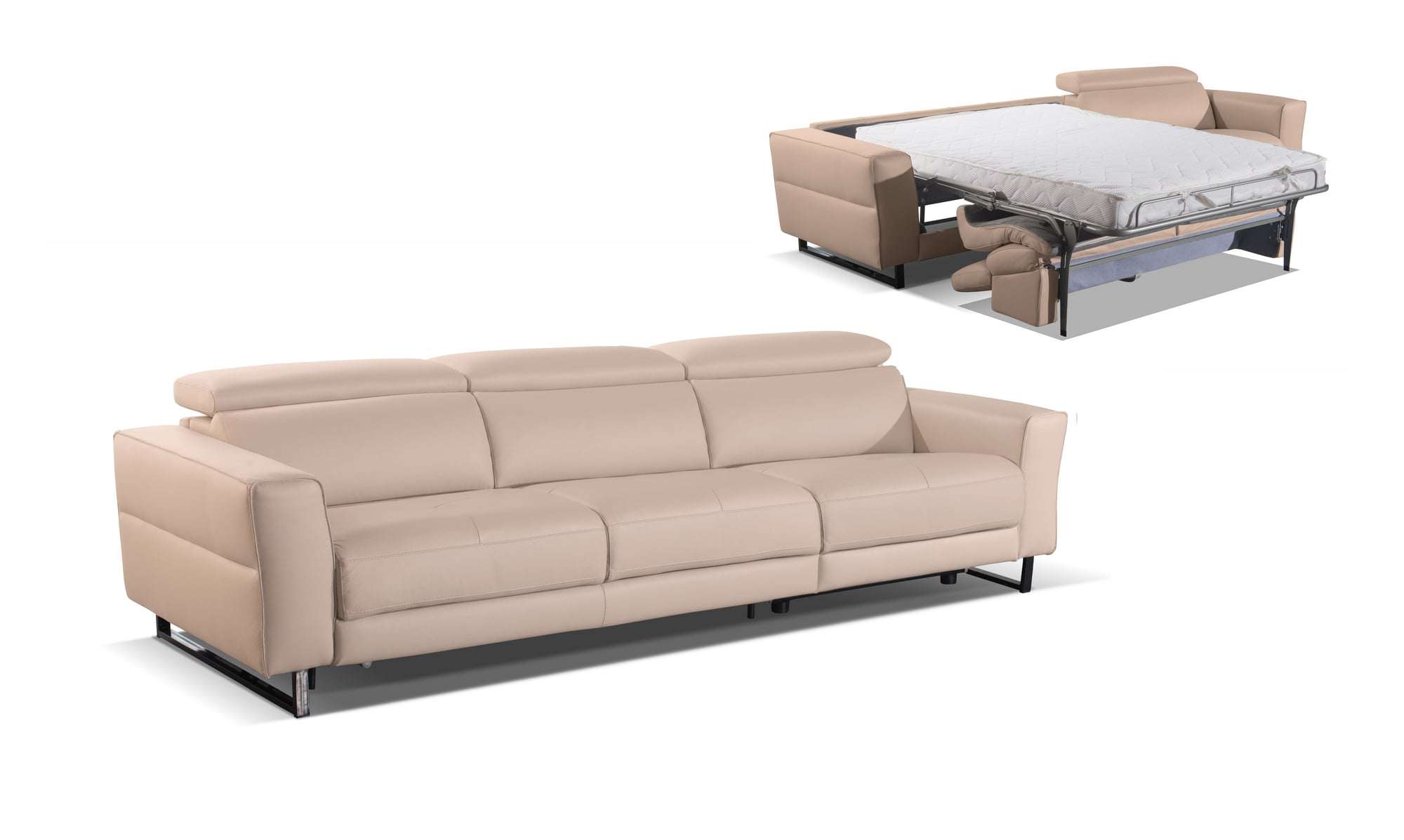 VIG Furniture Accenti Italia Snooker Modern Leather Grey White Sofa Bed with Recliner