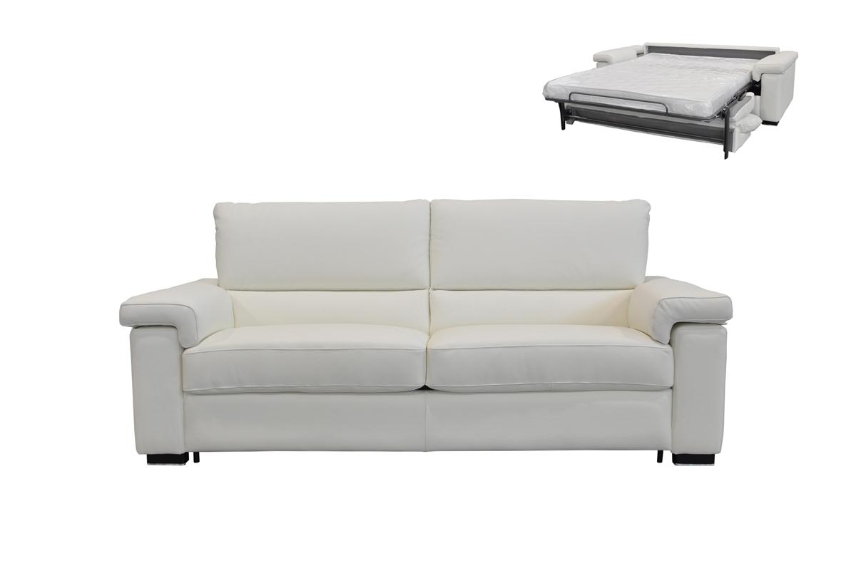 VIG Furniture Estro Salotti Spock Italian Modern White Leather Large Sofa bed